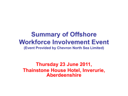 Summary of Offshore Workforce Involvement Event (Event