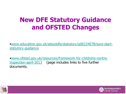 DFE Guidance and OFSTED Changes