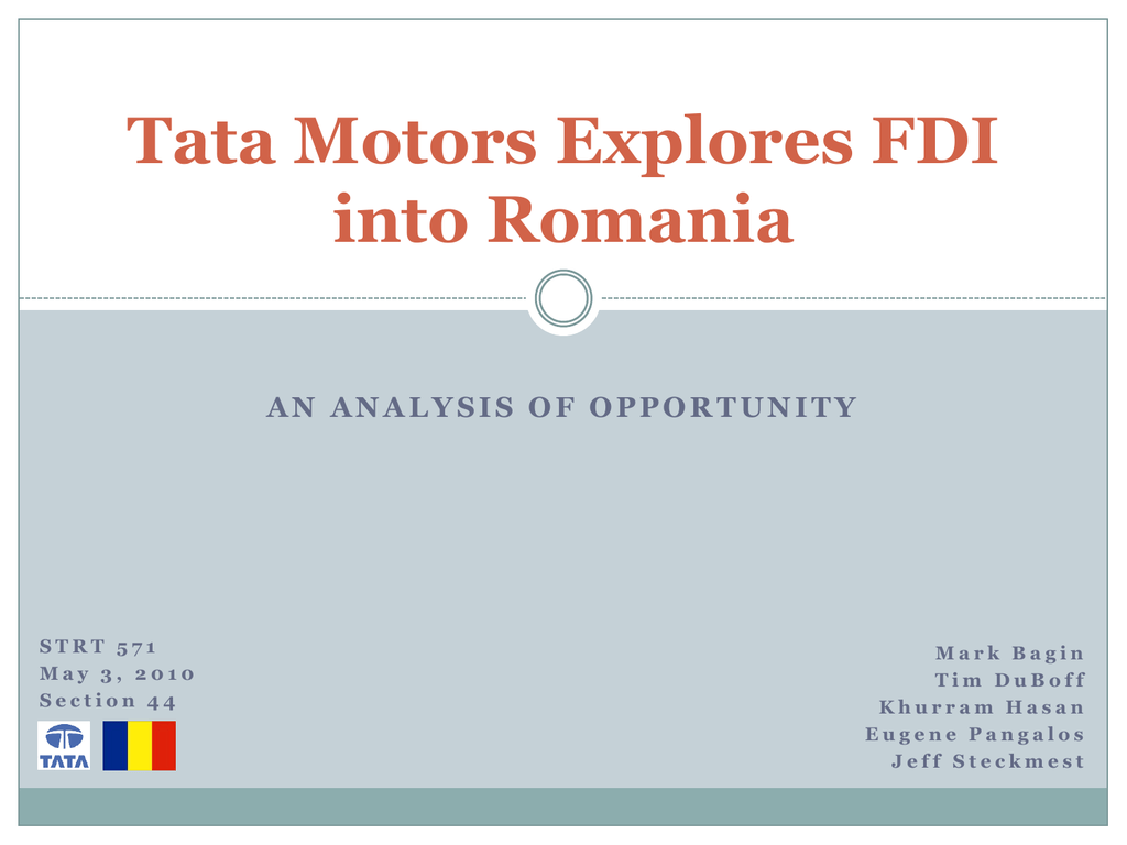 Tata Motors Explores FDI into Romania