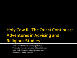 Holy cow!: What can Religious Studies teach us about advising?