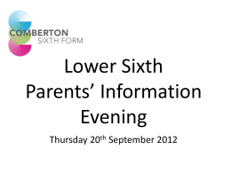 Presentation to Parents