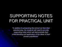 Supporting Notes for Practical Unit Guide