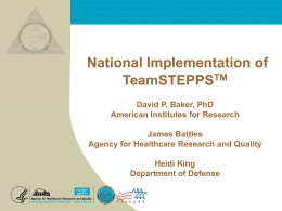 AcademyHealth National Implementation of TeamSTEPPS TM