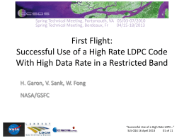 Successful Use of a High Rate LDPC Code with - CWE