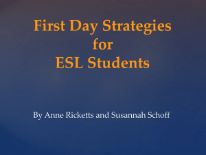 First Day Strategies for ESL students