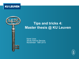 tips and tricks 4 master thesis