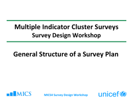 General Structure of a Country Survey Plan