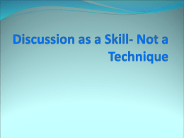 Discussion as a Skill