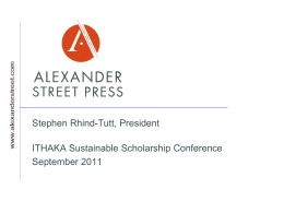 Ithaka Sustainable Scholarship Presentation