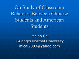 On Study of Classroom Behavior Between Chinese Students and