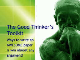 The Good Thinker`s Toolkit