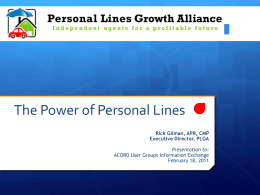 Presentation - Personal Lines Growth Alliance