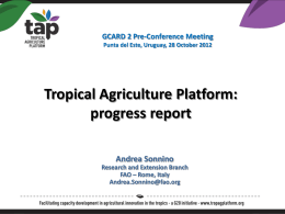 progress report GCARD 2 Pre-Conference Meeting Punta del Este