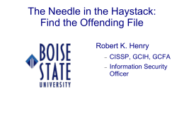 The Needle in the Haystack - Office of Information Technology