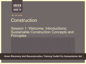 Sustainable Construction - Green Recovery & Reconstruction