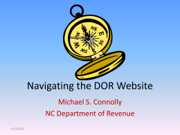 NCDOR Website Changes - Department of Revenue