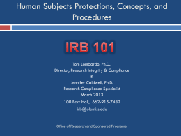 IRB-101 - Office of Research and Sponsored Programs