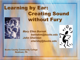 Learning by Ear: Creating Sound - Bucks County Community College