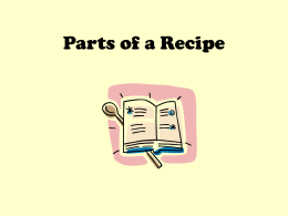 Parts of a Recipe PowerPoint