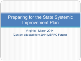 Preparing for SSIP – VICC 3-12-2014