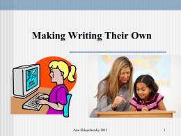Making Writing Their Own