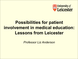 Possibilities for patient involvement in medical education