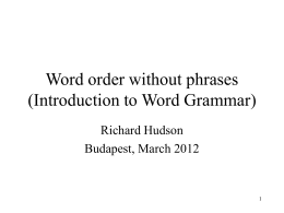 Word order without phrases