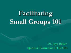 Goals and Principles of Small Group Leading