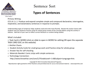 Types of Sentences - Innovative Educational Programs