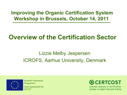 Overview of the Certification Sector