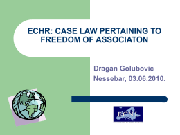 ECHR: Case Law Pertaining to Freedom of Association