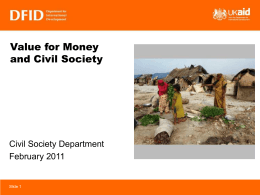 DFID presentation on Value for Money and Civil Society