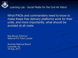 Social Media for the Civil Air Patrol