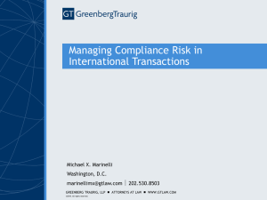 Managing Compliance Risk in International Transactions