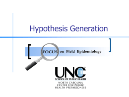 Hypothesis Generation - North Carolina Institute for Public Health