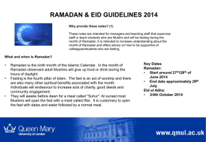 Ramadan and Eid guidelines