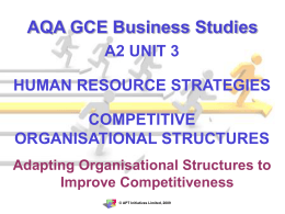 Adapting Organisational Structures to Improve Competitiveness