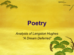 "Poetry Analysis of Langston Hughes ""A Dream Deferred"""