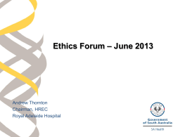 Research Ethics Information Session June 2013