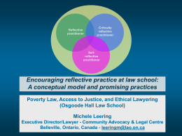 REFLECT ON PRACTICE - Community Advocacy & Legal Centre