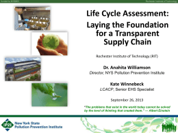 Life Cycle Assessment - GoGreen Conference New York