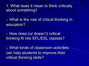 critical thinking fit into EFL/ESL classes?