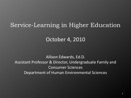 Service Learning in Higher Education