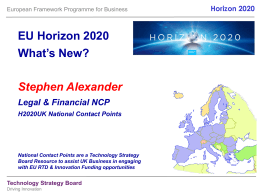 Funding opportunities in Horizon 2020