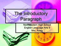 Thesis powerpoint - Magoffin County Schools