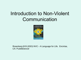 Introduction to Non-Violent Communication (PowerPoint)