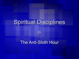 Spiritual Disciplines.Wednesday