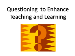 Questioning (Staff Development Session)