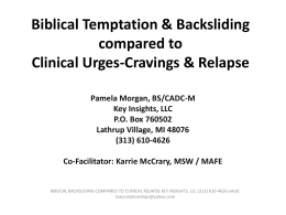 Biblical Temptation compared to Clinical Relapse - MI-PTE