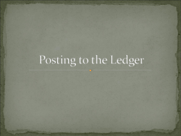 5. Posting to the Ledger